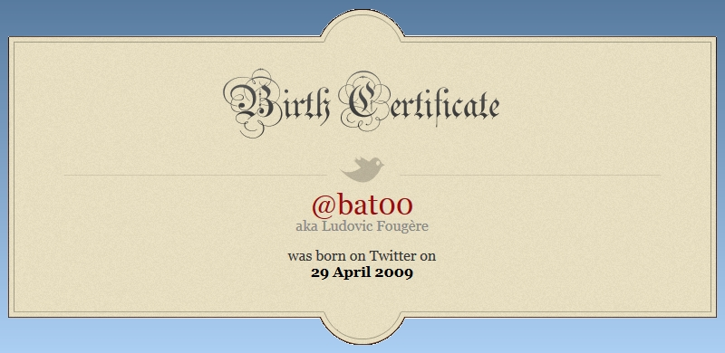 Certificat naissance Twitter